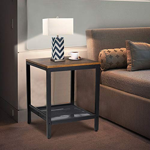 Bedside Table, Black Metal Storage Decorative Coffee Table, Side Table with 2-Tier Side Shelf for Living Room Bedroom Kitchen, Rustic Brown , 45 x 45 x 55 cm