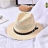 Nueva Playa de Verano Hecha a Mano para Mujer, Sombrero de Paja Boho Fedora, Sombrero para el Sol, Sombrero para el Sol, Sombrero Casual para Jazz,Beige