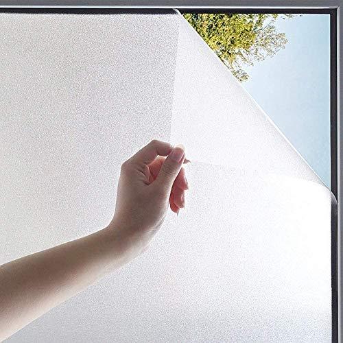 TTMOW 窓ガラスフィルム 目隠しシート 窓用フィルム 曇りガラスフィルム すりガラスシート 遮光断熱 めかくしシート UVカット 飛散防止 水で貼る 防犯フィルム 繰り返し使用 浴室 風呂 玄関 オフィス目隠し 外から見えない 艶消し白い砂柄 淡白 (