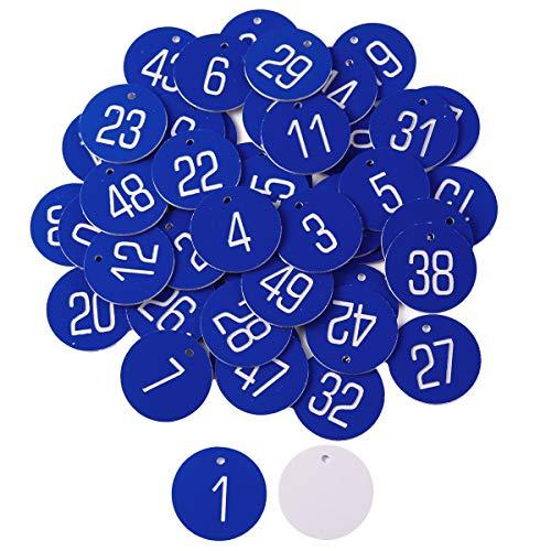 ToPicks 50 Stück gravierte Scheiben, Tischnummern, Etiketten, Spinde, Kneipe, Restaurant, Club (blau, 1–50, keine Ringe)