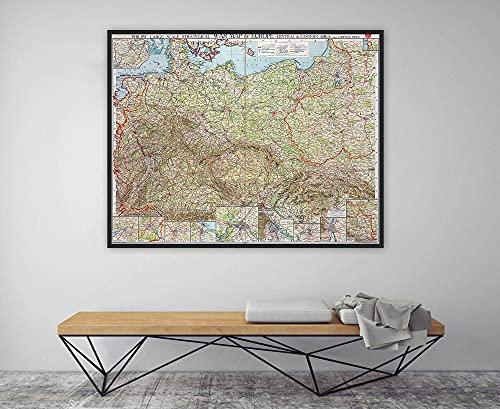 MG global Mapa de la Primera Guerra Mundial, mapa de la Primera Guerra Mundial, mapa de guerra estratégico a gran escala de Europa – zona central y oriental con índice completo sin marco arte de pared