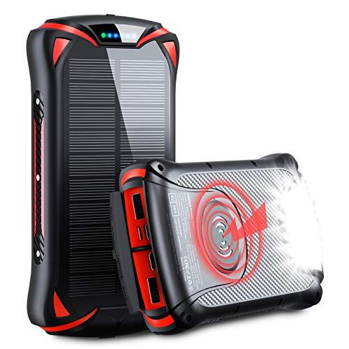 Aikove 10W Wireless Cargador Portátil, 30000mAh 18W Solar Energia Movil, QC 3.0 Paquete de Pilas Externo con 3 Entradas y 4 Salidas (Qi & USB C), Power Bank Rápido de Móvil Portátil Resistente al Agua