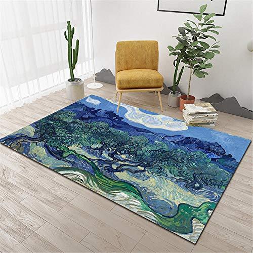 La alfombra Decoración del hogar Tacto suave salón La alfombra Patrón abstracto de graffiti de tinta de estilo de pintura al óleo amarillo verde azul Decoración del hogar La Alfombras 60*160cm