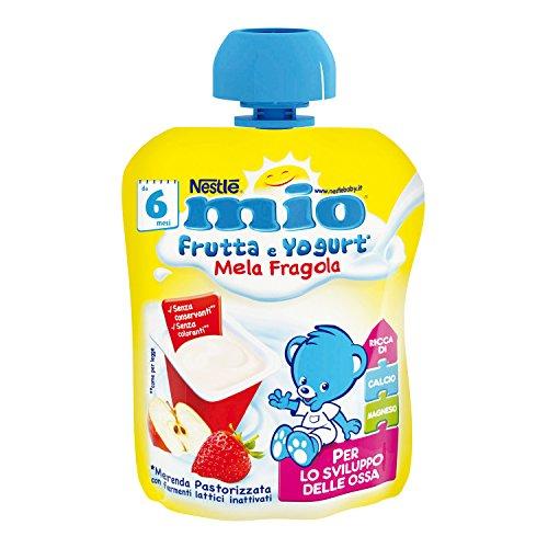 Nestlé Mio Merenda Frutta e Yogurt da Spremere Mela e Fragola senza Glutine da 6 Mesi, 90ml