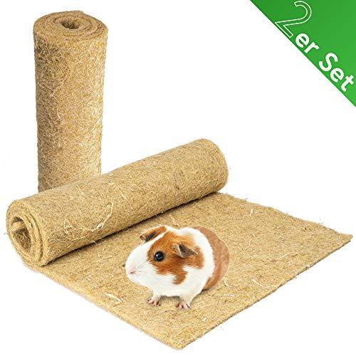 Nagerteppich aus 100% Hanf, 120 x 60cm, 5mm dick, 2er Pack (6,95 Euro/Stück), Hanfteppich für alle Arten Kleintiere, Hanfmatte Nagermatte Nager-Teppich