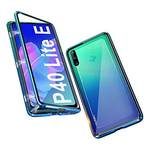 OVANN Hülle für Huawei P40 Lite E Magnetische Adsorption Tech Handyhülle 360 Grad Schutz Starke Magneten Aluminiumrahmen Gehärtetes Glas Stoßfest Metall Flip Cover