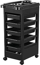 Yaheetech 5 drawer Monochrome Salon Hairdressing Hairdresser Beauty Storage Trolley on Wheels Black Plastic