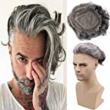 Rossy&Nancy Toupee for Men Mono Lace with PU Around and the French Lace Front Men's Hair Pieces Replacement System 40% 1B Black Color Mixed 60% Grey Hair Mens Wig 10x8inch