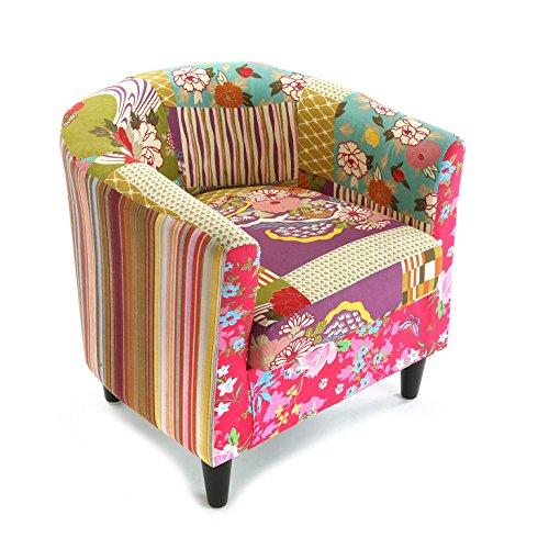 Versa Pink Patchwork Sillón orejero tapizado con reposabrazos Butaca con Botones, Algodón, Rosa, V