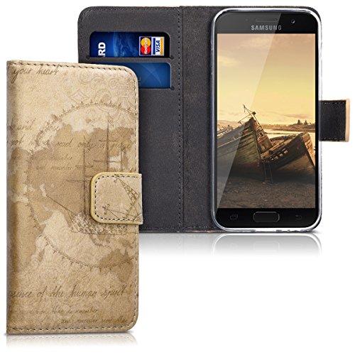 kwmobile Wallet Hülle kompatibel mit Samsung Galaxy A3 (2017) - Hülle Kunstleder mit Kartenfächern Stand Travel Vintage Braun Hellbraun