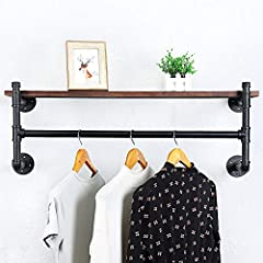 Industrial Pipe Clothing Rack Wall Mounted with Real Wood Shelf,Rustic Retail Garment Rack Display Rack Cloths Rack,Pipe Shelving Floating Shelves Wall Shelf,36in Steam Punk Commercial Clothes Racks #1