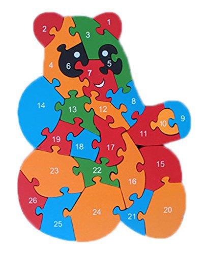 Bigood Jouet Bébé Enfant Puzzle en Bois Alphabet Chiffre Cognition Réveil Cadeau Ours