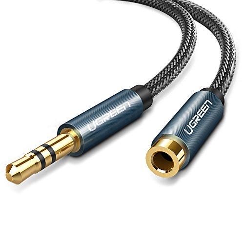 UGREEN Alargador para Auriculares, Cable de Audio Jack 3,5mm Macho a Hembra Nylon Trenzado, Cable de Extensión para Altavoces, Audio de Coche, Reproductor de MP3, Móvil, Tablet y Más(1Metros, Azul)