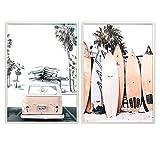 Didart Handmade 2 Cuadros decoración salón o dormitorio moderno.Con marco.Personalizado. Díptico,' Volkswagen y tablas de surf'· Elige tamaño y color del marco. Hecho en España