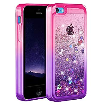 Ruky iPhone 5c Case [Gradient Quicksand Series] Glitter Flowing Liquid Floating Protective Shockproof Clear TPU Girls Case for iPhone 5c  Pink Purple