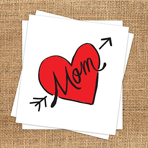 Contemporary Mom Heart Temporary Tattoo (3 Pack)   Skin Safe   MADE IN THE USA  Removable