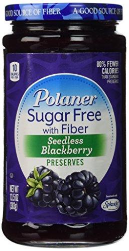 Polaner Seedless Blackberry Preserves Sugar Free with Fiber, 13.5 Oz, (Pack of 2)
