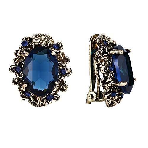 BriLove Antique-Gold-Toned Clip-On Earrings for Women Victorian Style Crystal Floral Cameo Inspired Oval Earrings Navy Blue Sapphire Color