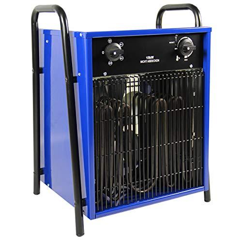 HELO Heizlüfter 15 kW Elektroheizer mit 3 Heizstufen, Thermostat und Überhitzungsschutz (stufenlos regelbar), Heißluftgenerator geeignet als Bauheizer oder Bautrockner (400V/50hz Starkstrom)