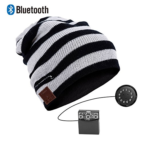 EnzoDate Estereo de Auriculares Manos Libres inalambrico Bluetooth Beanie Knit Hat Winter...