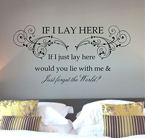 Snow Patrol Flourish, Chasing Cars Lyrics, If I Lay Here, Wall Art Sticker, mural, decal (Black) by Wonderful Stickers