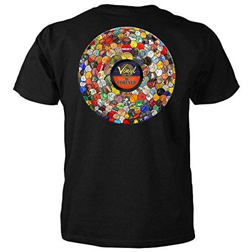 Camiseta de manga curta adulto Vinyl is Forever Preta-média