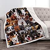 Jekeno Dogs Sherpa Blanket Husky Shiba Inu Pomeranian Bull Terrier Smooth Soft Print Throw Blanket for Bed Couch Sofa Gift Kid Adult 50'x60'