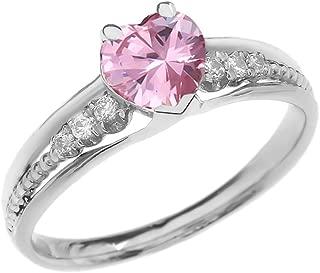 Dazzling 10k White Gold Diamond And October Birthstone Heart Beaded Promise Ring