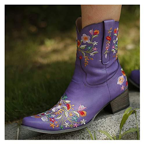 GJHYJK Damen Round Toe Ethnischer Stil Martin Stiefel Damen Bestickte Blumen Niedrige Stiefel Quadratischer Absatz Trend Stiefeletten Größe,Purple-37