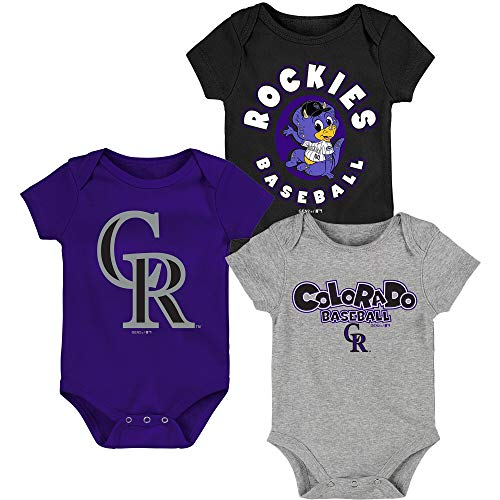 MLB Newborn Infants Everyday Fan 3 Piece Bodysuit Creeper Set (12 Months, Colorado Rockies)