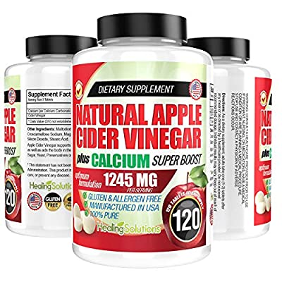 Apple Cider Vinegar Tablets (100% Pure - 1245mg Plus Calcium Superboost) 120 Pills - ACV is Perfect for Body Dexot, and More! by Healing Solutions