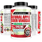 Apple Cider Vinegar Tablets (100% Pure - 1245mg Plus Calcium Superboost) 120 Pills - ACV is Perfect for Body Dexot, and More!