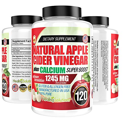 Apple Cider Vinegar Tablets (100% Pure - 1245mg Plus Calcium Superboost) 120 Pills - ACV is Perfect for Keto Diet, Body Dexot, and More!