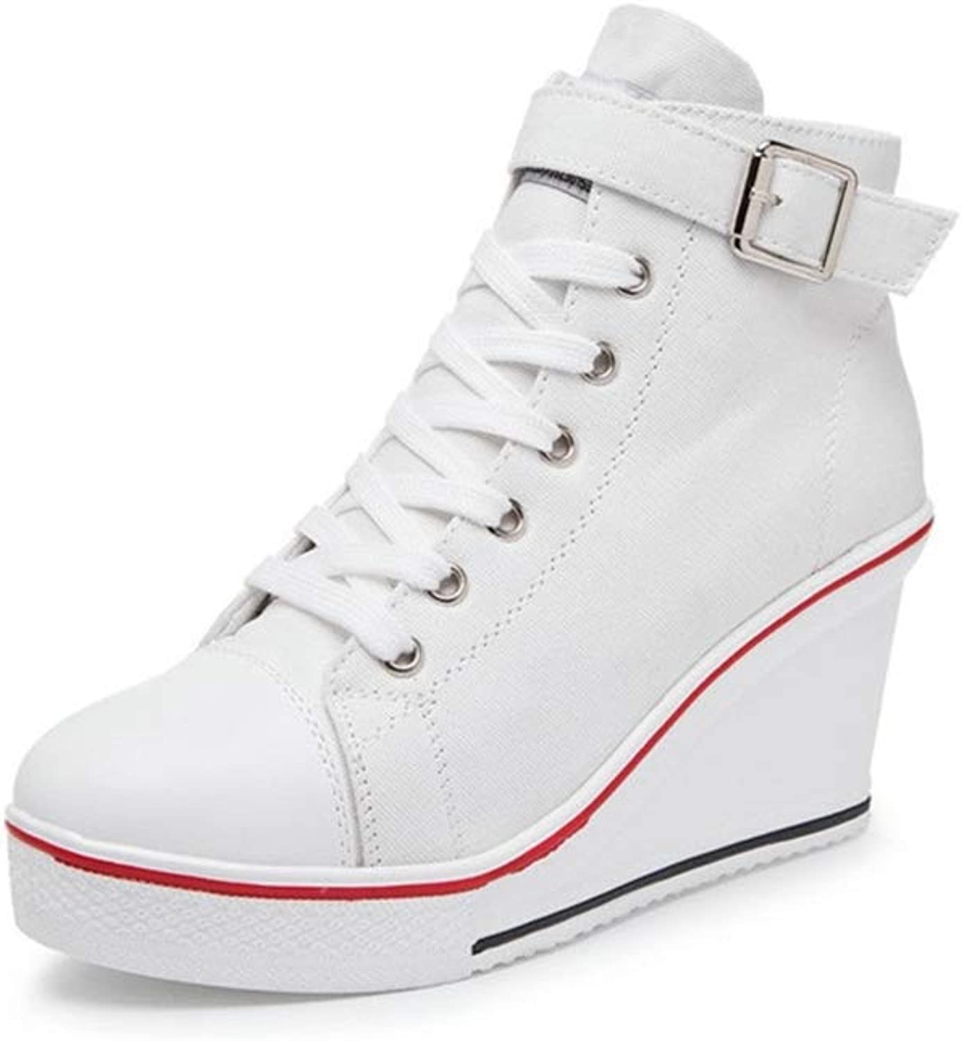 Btrada Women White Canvas Wedges Sneakers High Top Slip-on Height Increase High Heel Platform shoes