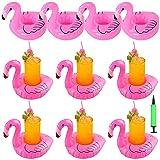 10PCS Soporte Inflable para Bebidas, Portavasos Inflable Flamingo Inflable Bebida Flotante Portavasos,con 1 Bomba de Aire Libre para el Verano de Fiesta en la Piscina de Agua Diversión