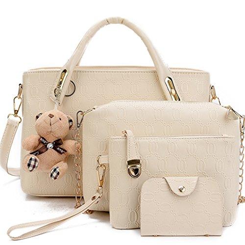 FiveloveTwo Damen 4Pcs Top Griff Satchel Hobo PU Leder Umhängetasche Handtasche Set große Tasche + Geldbörse + Schultertasche