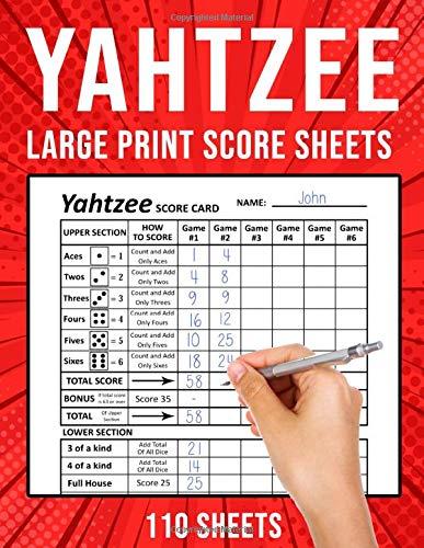 Yahtzee Score Sheets Large Print: Yahtzee Score Cards / Pads | 110 Sheets (8.5' x 11')