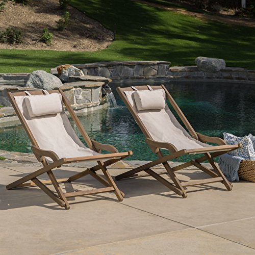 Christopher Knight Home 300268 Northland Outdoor Wood and Canvas Sling Chair (Set of 2) (Beige)