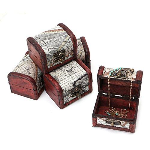 KERDEJAR - Caja de Almacenamiento de Mapa de Madera Vintage de 1 Pieza, Caja de Pecho para Gemelos de joyería con Cierre de Metal