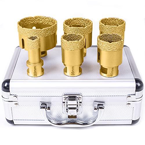 Diamant Lochsäge Diamantbohrer Kit M14 20/35/40/45/50/68mm Fliesenbohrer Set 0,8/1,4/1,6/1,8/2/2,7 Inch für Porzellan Fliese Granit Marmor Fliesen Bohren