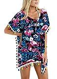 Loveternal Mujer Flamenco Trajes de Baño Encubrimientos Gasa Camisolas y Pareos Borla Flamingo Bikini de Playa