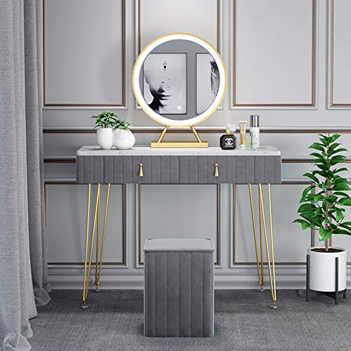 MFGDF Samt Schminktisch Set mit 3 Modi Spiegel mit Einstellbarer Helligkeit, 2 großen Schiebeschubladen und gepolstertem Hocker, Mädchen, 100 cm