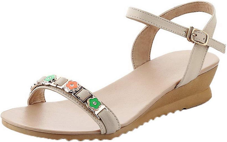 AmoonyFashion Women's Kitten-Heels Studded Buckle Open-Toe Sandals,BUTLT007194