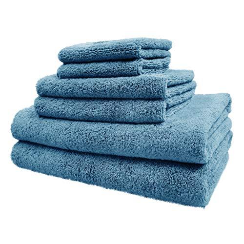 Polyte - Juego de Toallas de baño de Microfibra Felpa y antipelusa - Secado rápido - Pack de 6 (Azul)
