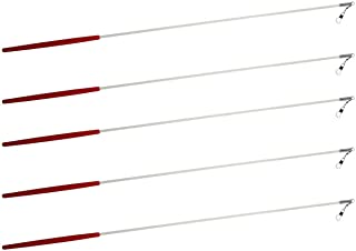 Kats'N Us 5 Gymnastic Batons Ribbon Sticks 19 Inch White Rod Red Handle - No Ribbons