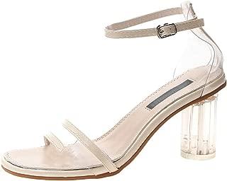 FengGa Fashion Women Summer Pumps High Heel Sandals Casual Bucket Peep Toe Casual Transparent Party Dressing Sandals