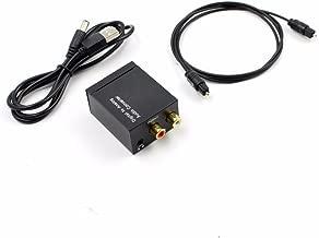 Cikuso Convertidor de Audio Digital a analogico Decodificador de senal de Fibra optica Senal coaxial a analogico Adaptador de Audio Estereo 3.5MM Jack 2 * RCA