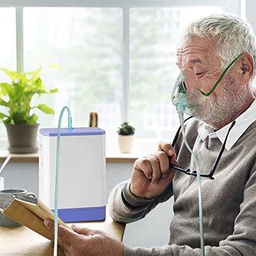 ALTINOVO Máquina de Oxígeno Portátil, Concentrador de Oxígeno Doméstico 3L / min, Oxígeno Ultra Puro con Adaptador para Automóvil y Mochila, Flujo de Oxígeno 29% ± 1%, para el Hogar, Viajes