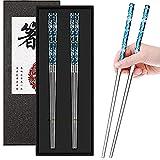 Stainless Steel Chopsticks,Reusable Chopsticks 304 Stainless Steel Chopsticks Lightweight Metalchopsticks Anti-slip Chop Sticks2Pairs Chopsticks Dishwasher Safe (Blue silver)