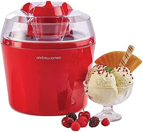 Andrew James Macchina per il gelato con ciotola da 1,5 litri | Macchina per gelato per yogurt e sorbetto con pagaia rimovibile | Grande dispenser di ingredienti e ricette incluse